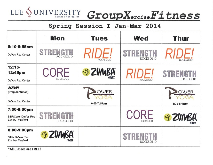 Group X Schedule